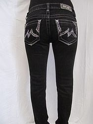 JD1066S3 Miss Me Skinny Denim Jeans Black with Sequins