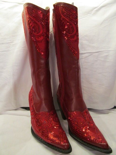 HelensHeart - Red Partial Bling Boots