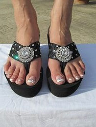 Scandalous Miss Cellaneous - Black Blingy Flip Flops