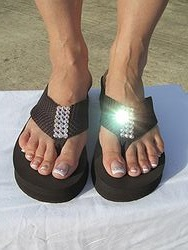 Scandalous Miss Placed Too - Brown Blingy Flip Flops
