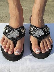 Katydid - Black Cheerleader Flip Flops