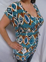 Pink Polka Dot - Turquoise/Brown Tunic Top