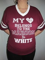 Pink Armadillo - My Heart Belongs To Maroon & White Shirt