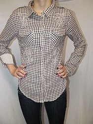 Miss Me JMT949 - Ladies Double Cloth L/S Checkered Woven