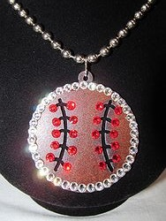 Custom Bling Necklaces - Baseball Bling Metal Necklace