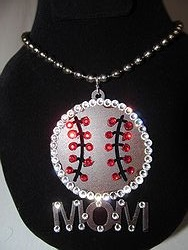 Custom Bling Necklaces - Baseball Mom Bling Metal Necklace