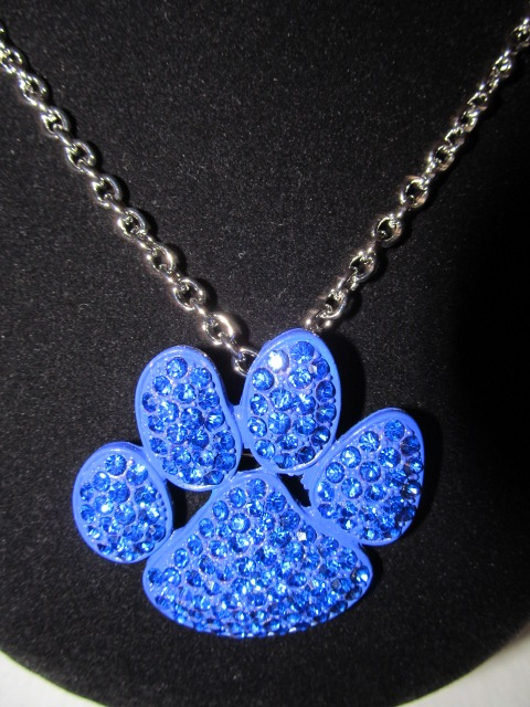 Royal Blue Bling  Paw  Necklace
