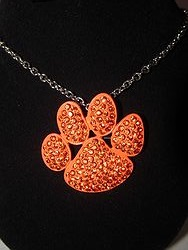 Orange Bling Paw Necklace