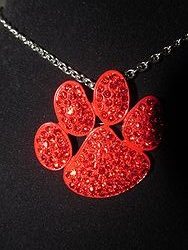 Red Bling  Paw Necklace