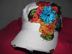 Custom Bling Hat - White Hat With Blue Flower