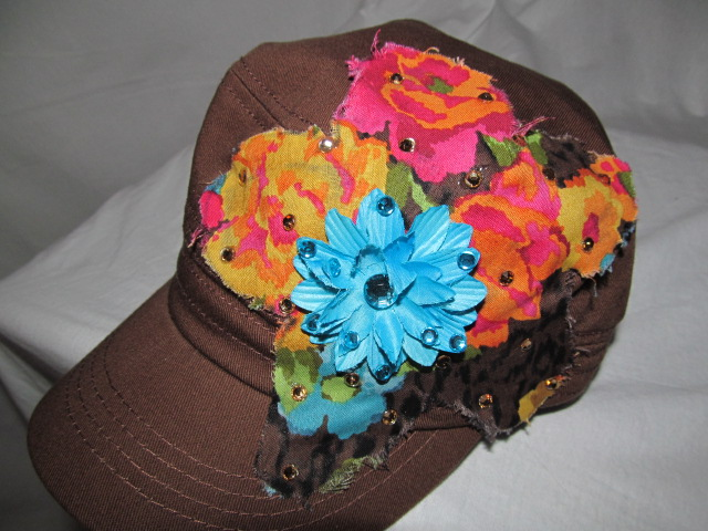 Custom Bling Hat - Brown Hat With Blue Bling Flower