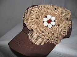 Custom Bling Hat - Brown Cadet With Burlap