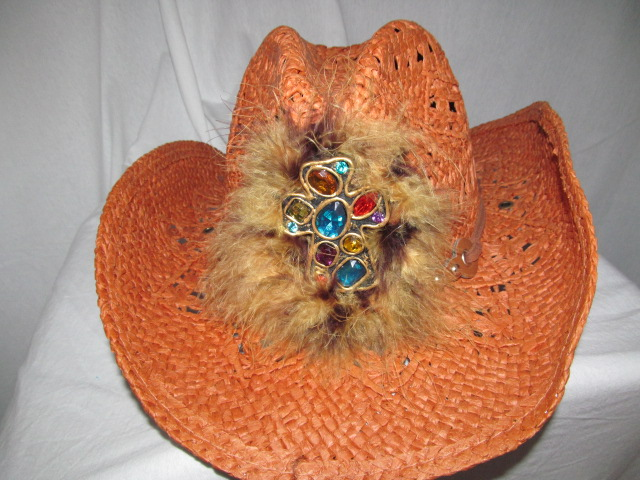 Custom Bling Cowboy Hat - Rustic With Feathers & Bling Cross