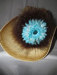 Custom Bling Cowboy Hat - Tan With Feathers & Turquoise Flower