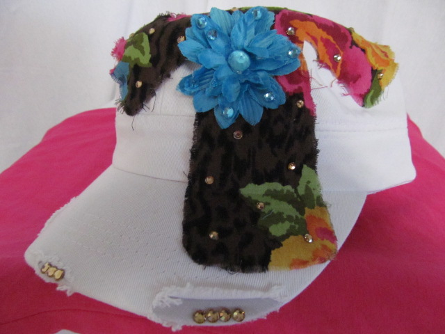 Custom Bling Hat - White Cadet Hat  With Cloth Cross