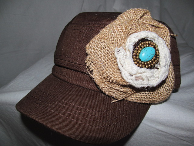 Custom Bling Hat - Brown  Wtih Burlap, Cream Lace & Turquoise Stone