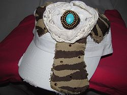 Custom Bling Hat - White Cadet Hat  With Tan & Dark Brown Cross