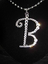 Initial B Custom Bling Necklaces - Custom Heart Necklace