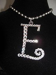 Initial E Custom Bling Necklaces - Custom Heart Necklace