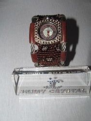 Jimmy Crystal WJ509 - Brown Cheetah Stainless Steel Leather Band Watch