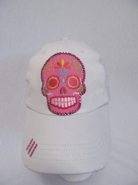 Skull Head on WhiteTrucker Cap