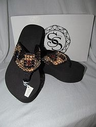 Scandalous Miss Vegas Cheetah - Blingy Flip Flops