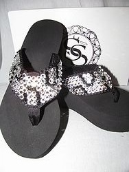 Scandalous Miss Vegas White Cheetah - Blingy Flip Flops