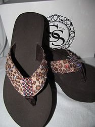 Scandalous Miss Dressed - Leopard Blingy Flip Flops