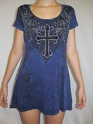 Vocal #V9339S - Blue Top W/Cross Bling