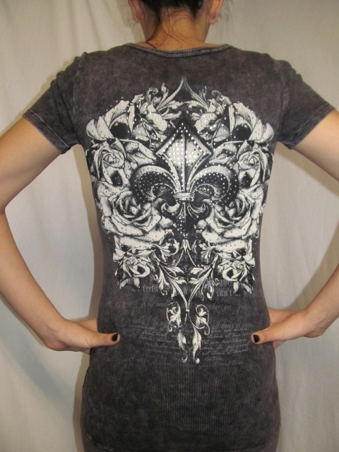 Vocal #V6868S - Grey Shirt W/FleurDeLis Bling