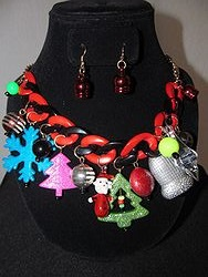 #2 Christmas Necklace W/Earrings