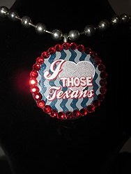 Custom Bling Necklaces - I Love Those Texans Round Pendent Necklace