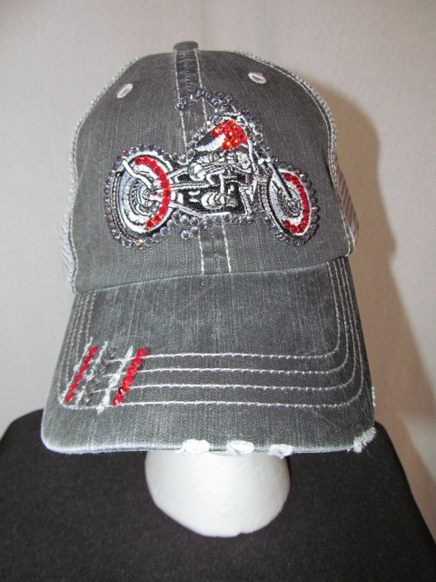Biker  Bling Grey  Trucker Hat