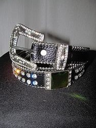 Belt # 7 -Black Belt W/ Multi Color Bling Stones