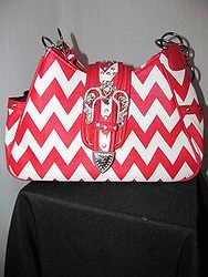 Fashion Bags - P7102SV Red Chevron Purse