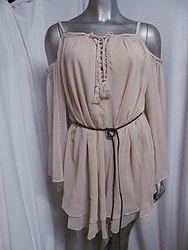 25H142-Taupe Chiffon Dress With Suede Belt