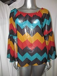 VQT1234T1-T Chevron Print Off Shoulder Top