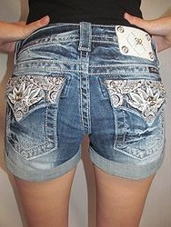 JP5970H3 MissMe Shorts - Dark Roll Up Denim Shorts