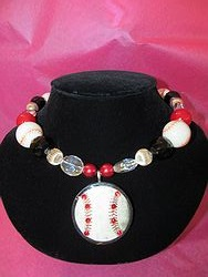 Custom Bling Necklaces - Baseball # 1 Necklace