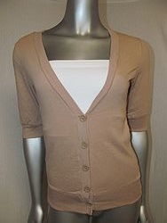 FS7082 Tan - B utton Down V-Neck