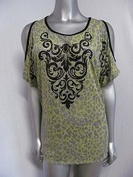 Vocal #V11354S - Green Leopard Print Top
