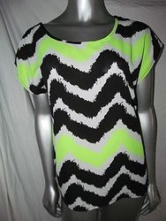 B8T6614 - Lime, Black & White Top