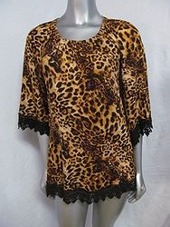 T2071G - Cheetah Top With Lace Trim