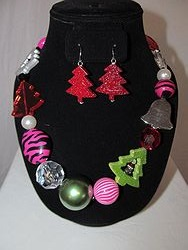 #13 Christmas Necklace W/Earrings