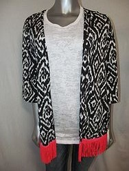 3 Fringe-Black/White Cardigan