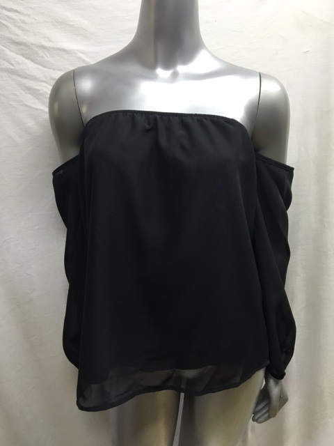 KT3216N - Black Off The Shoulder Top - Fully Lined