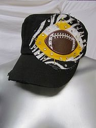 Custom Bling Hat - Black Football Cadet Hat With Bling