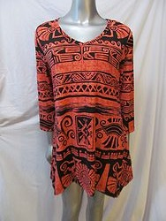 313HT - Coral/Black Tunic Top
