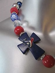 Custom Necklaces - Texans Cross 2 - Chunky Necklace