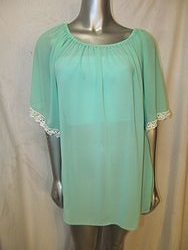 20508-Mint - Mint Sheer Chiffon Tunic Top